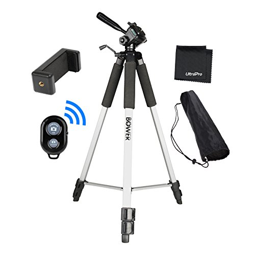 """UltraPro 59"""" Inch Full-Size Aluminum Camera Tripod with Universal Smartphone Mount + Bluetooth Remote Control Camera Shutter for All Smartphones, Includes UltraPro Microfiber Cleaning Cloth"""