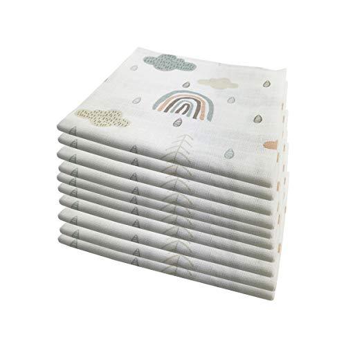 10x Spucktücher Mullwindeln Baby Baumwolle 80x70 cm | ÖKO-TEX (Wolken (10 grün))