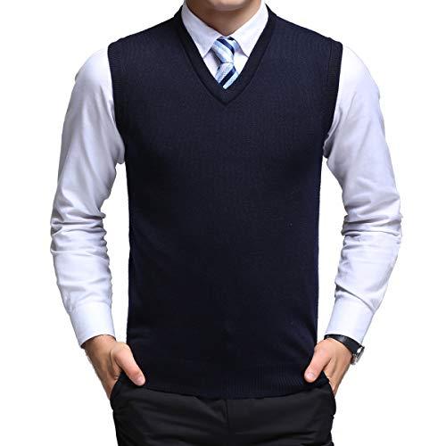 Yingqible Herren West Ärmellose Pullunder Strickweste V-Ausschnitt Einfarbig Wollweste für Männer