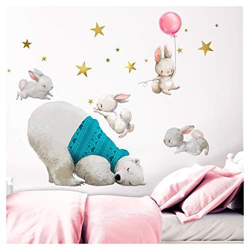 Little Deco muursticker babykamer ijsbeer & hazen met ballon roze II sterren kinderfoto's deco kinderkamer meisjes sticker DL234 L - 132 x 102 cm (BxH)