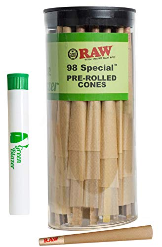 RAW Pre Rolled Cones 98 Special: 50 Pack - Rolling Papers with Filter Tips - Clean & Slow Burning RAW Cone - Includes Green Blazer Doob Tube