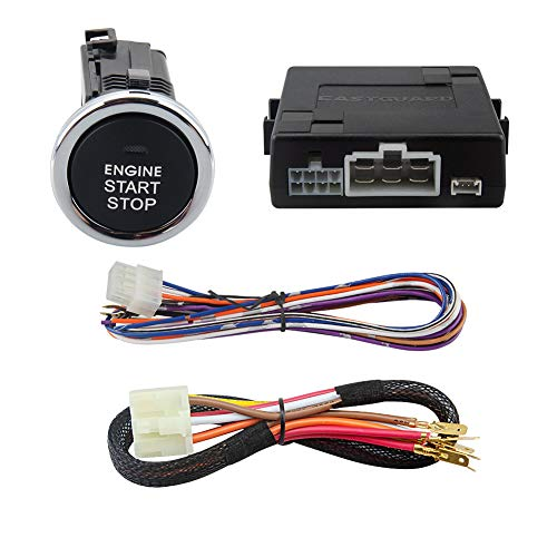 EASYGUARD ES002-P5 Push Start Button kit & keyless go Compatible with Factory or aftermarket car Alarm or keyless Entry System DC12V