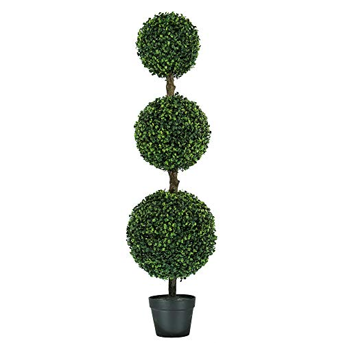 MY LUNA HOME 4ft Topiary Trees Artificial Outdoor Triple Ball Boxwood for Home and Office Decor- Fake Tree for Use as Front Porch Decorations or Indoor Shrubbery- Potted Faux Plant UV Resistant (1)