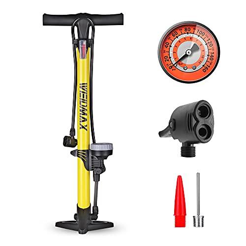 WEIDMAX Pompa per bicicletta, pompa da pavimento ergonomica per bicicletta, gonfiatore per pneumatici per bicicletta, pompa portatile, con manometro e testa della valvola intelligente