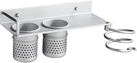 1 st Föhn Rack met Mand Aluminium Badkamer Wandplank Haar Kam Borstel Plug Houder Badkamer Accessoires Opbergmand, E, CN
