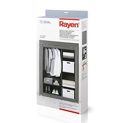 Rayen | Armario Ropero con Baldas | Fácil Montaje | Transpirable | 6 Estantes, 4 Bolsillos Laterales y 1 Barra para Colgar | Dimensiones: 105 x 45 161 cm