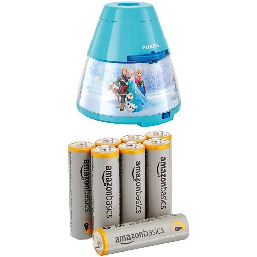 Philips Veilleuse Projecteur Reine des Neiges Disney Lampe enfant & AmazonBasics Lot de 8 piles alcalines Type AA 1,5 V 2875 mAh (design variable)