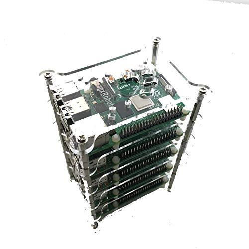 GeauxRobot Raspberry Pi 4 Model B 5-Layer Dog Bone Stack Clear Case Box Enclosure Also for Pi 3B+ 3B, 2B B+ A+ B A