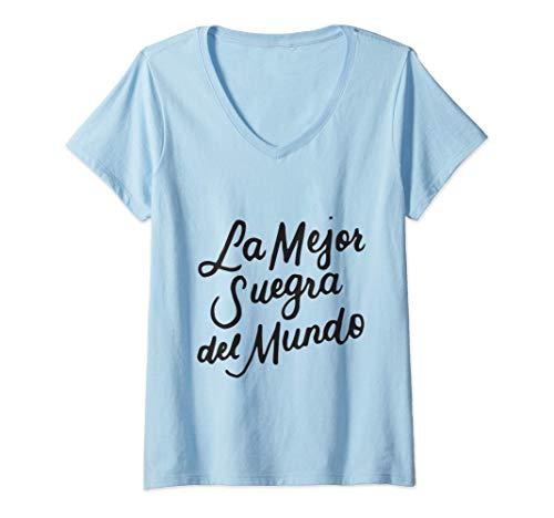 Mujer La Mejor Suegra Del Mundo Español Madre En La Ley Regalos Camiseta Cuello V