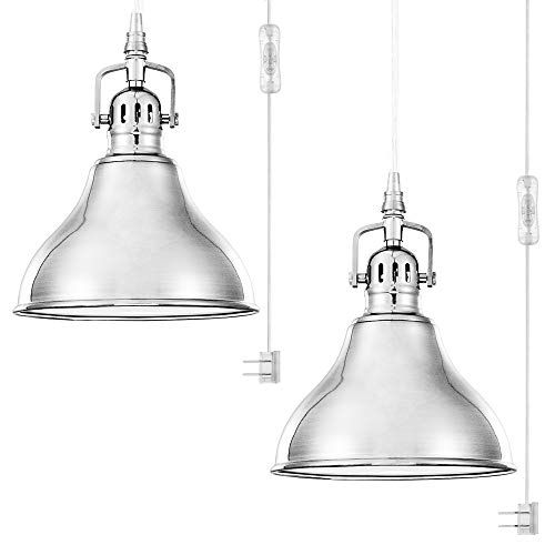 QITIM 2 Pack Plug in Pendant Light Indoor,Brushed Nickel Finish Modern Metal Hanging Lamp for Kitchen, Living Room, Bedroom, 15FT Clear Cord with On/Off Switch, E26 Socket