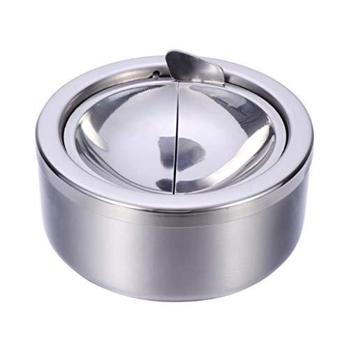 Cenicero Cenicero De Cigarrillos Ronda a prueba de viento de acero inoxidable Cenicero Cenicero de escritorio de escritorio cenicero se puede presionar hacia abajo y se puede girar Cenicero para puros