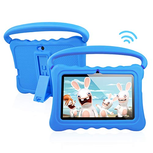 Kids Tablet PC Android 8.1 OS 7 Inch Full HD Display Tablets for Kids 1GB RAM 16 GB Storage Quad-Core 1.3Hz WiFi Tablet Soft Shock&Kid-Proof Case (Blue)