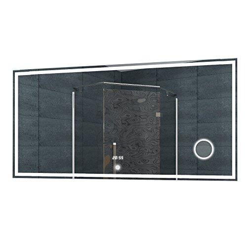 Lux-aqua Bagno Specchio Luce Specchio LED Orologio Specchio cosmetico Interruttore Touch 120x 60cm–lmc1260a