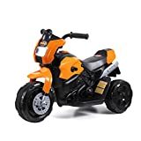 JAXPETY 6V Kids Ride On Motorcycle Toy, Electric Battery Powered Motorcycle Ride On Toy with 3 Wheels for Kids, Orange