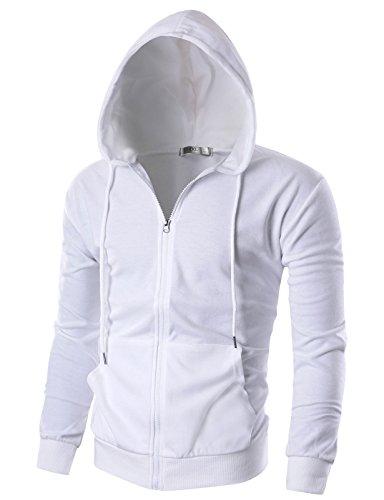 Ohoo Mens Slim Fit Long Sleeve Lightweight Zip-up Hoodie With Kanga Pocket/DCF002-WHITE-S