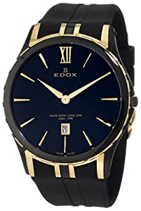 Edox Men's 27033 357JN NID Grand Ocean Black And Yellow Gold Ion-Plating Date Watch