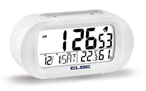 Elbe RD-009-B Reloj despertador con termómetro, adecuado para viajar, display LCD 3,1