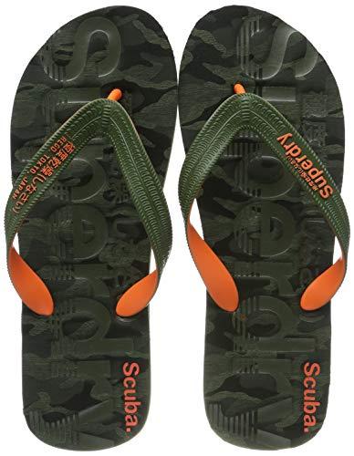 Superdry Herren Zehentrenner Zehentrenner Scuba Grit Flip Flop, Mehrfarbig (Khaki Camo/Khaki/Orange X2b), 44/45 EU (Herstellergröße: L)