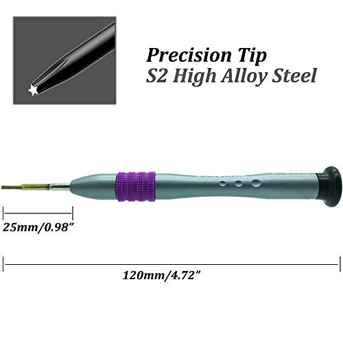 1.2mm/P5/TS4/PL4 Precision Pentalobe Screwdriver, S2 High Alloy Steel Head, Magnetic Tip, Rotating Cap, 5 point Star Screwdriver Repair Tool for Apple MacBook Air MacBook Pro Retina