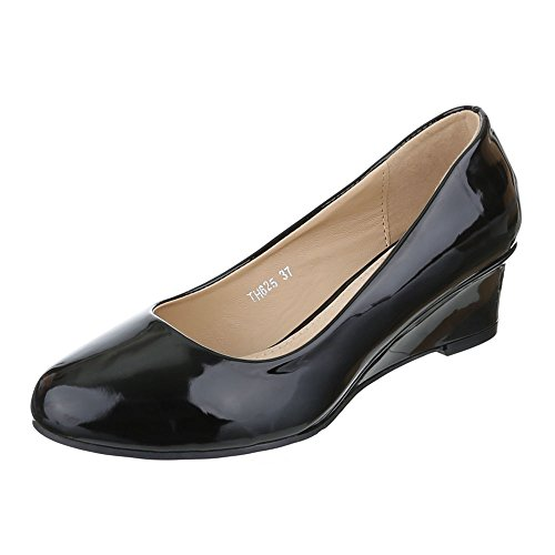 Ital-Design Keilpumps Damen Schuhe Plateau Keilabsatz/ Wedge Keilabsatz Pumps Schwarz, Gr 38, Th625-