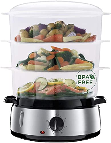 3 Tier Food Steamer for Cooking, 9.5 QT Electric Food Steamer for Vegetables or Meats, 800W Fast Simultaneous Cooking, Rice/Grains Tray and Egg Holders Included, Auto Shutoff and BPA-free