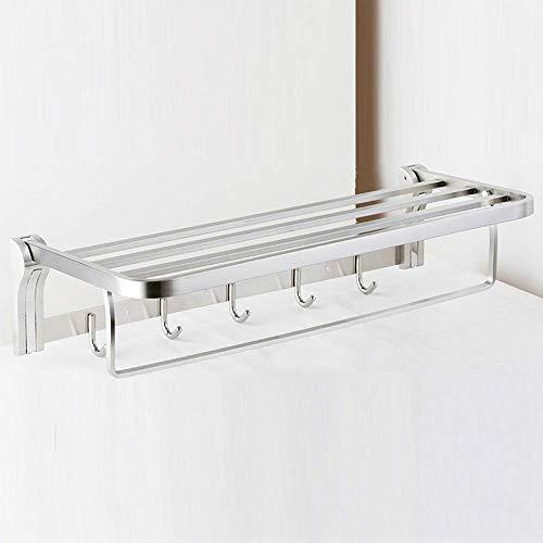 MLOZS Toallero de baño montado en la pared de acero inoxidable para baño, toallero de baño, doble poste con gancho para accesorios de baño toallero