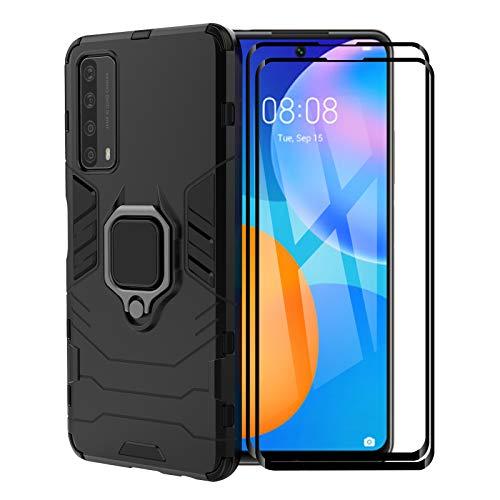 FINEONE Funda para Huawei P Smart 2021, [Robusto] Anillo Metálico Soporte [Funciona con El Montaje De Coche Magnético] Case Carcasa, Negro + 2 Piezas Protector de Pantalla