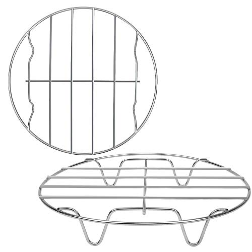 2 Pack Round Cooking Cooling Racks 8'x1.18', 304 Stainless Steel Round Rack for Steaming Rack and Air Fryer Cooking Steamer Rack, Multi-Purpose for Air Fryer Pressure Cooker, Oven & Dishwasher Safe.