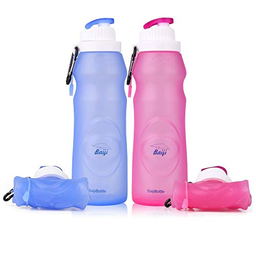 baiji bottle Silicone Water Bottles Sports Camping Canteen 20 Oz. -Easy To Clean And Store, Blue & Pink