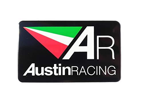 ADESIVO AUSTIN RACING STICKER PLACCA ALLUMINIO 3D RESISTENTE ALLE ALTE TEMPERATURE SCARICO AUSTINRACING EXHAUST LISCIO 10cm x 6cm