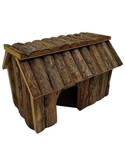 Dehner 4203824 - Casetta per roditori Faro, ca. Dimensioni: 33,5 x 23 x 22 cm, in legno di abete, colore naturale