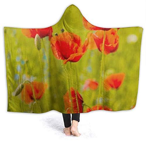 LISUMAL Tragbare Hoodie Decke,Poppy Field Nature Season Blumengarten Bloom Beauty...