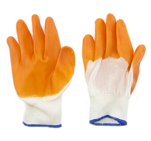 Gants de jardinage HAND Tissu Nylon antidérapante en caoutchouc Accueil gants de jardinage bricolage orange Paquet de 3 paires