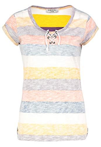 Sublevel Damen T-Shirt mit Kordel-Schnürung Gestreift Purple S