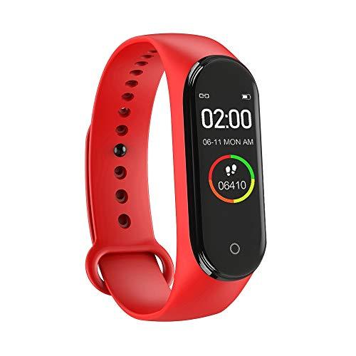 Mnbf Reloj inteligente de pulsera de fitness con podómetro, presión arterial, frecuencia cardíaca, reloj inteligente para mujeres y hombres, pulsera de actividad (rojo)