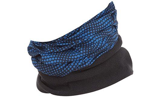 Hilltop Polar Halstuch, Multifunktionstuch, Kopftuch, Schlauchschal, Schal mit Fleece, Cooles Design in Trendfarben, für Damen und Herren, Farbe:schwarz - blaue Streifen