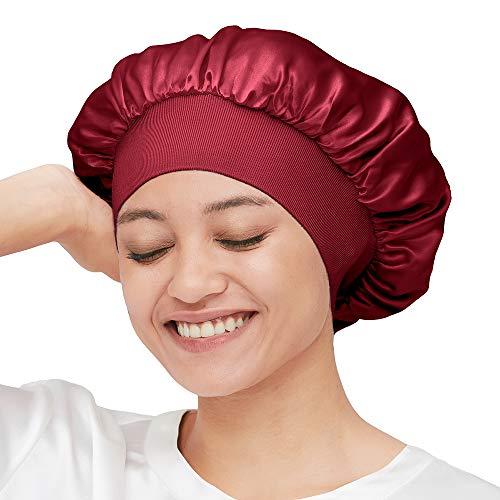 Mommesilk Seide Schlafmütze Damen mit Langen Haaren Weiche Nachtmütze mit breitem Gummiband für Schlafen/Krebs/Chemo/Haar-Verlust Verpackung MEHRWEG (Einzelgröße, Weinrot)