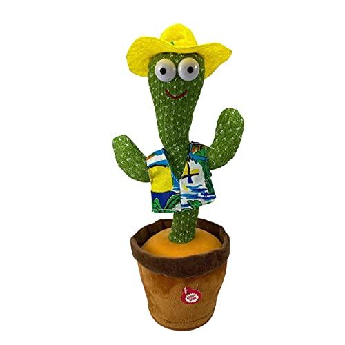 Cactus Bailando Juguete De Peluche De Cactus Juguete Cactus Cantante Repite Lo Que Dices Y Canta La Decoración Electrónica Del Juguete De Felpa Para Niños 120 Canciones En Inglés + Canto + Baile + LED