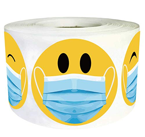 2 Inch Smiley Face Mask Stickers Yellow Happy Face Stickers - 500 Pcs Smiley Face Stickers Roll Healthcare Worker Thank You Labels Reward Stickers (Yellow, 2 inch)
