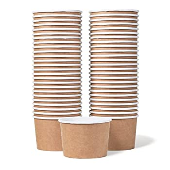 Paper Ice Cream Cups - 50-Count 9-Oz Disposable Dessert Bowls for Hot or Cold Food 9-Ounce Party Supplies Treat Cups for Sundae Frozen Yogurt Soup Brown