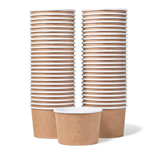 Paper Ice Cream Cups - 50-Count 9-Oz Disposable Dessert Bowls for Hot or Cold Food, 9-Ounce Party Supplies Treat Cups for Sundae, Frozen Yogurt, Soup, Brown