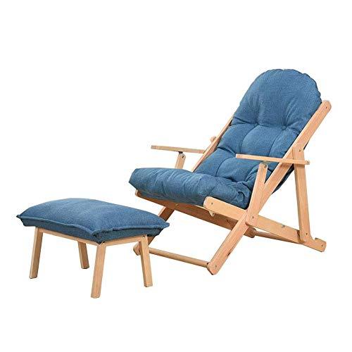 HFJKD - Silla plegable para jardín, patio, camping, playa, portátil, reclinable, sillón plegable de madera (color: azul, talla T2)