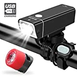 iKirkLiten 600 Lumens Bike Light USB Rechargeable, LED Bicycle Headlight Front and Back Rear Tail Lights, IPX6 Waterproof, Easy to Install for Men Women Kids Cycling Safety Flashlight