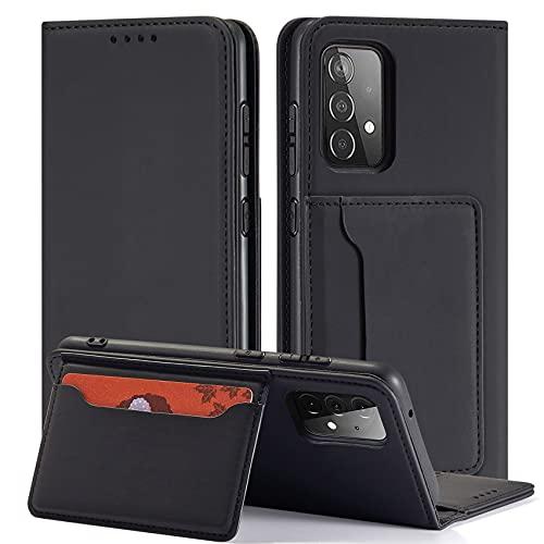 QHOHQ Fundas Cartucheras para Samsung Galaxy A52 4G&5G, Soporte Inteligente Cuero de Primera Calidad Magnético Estilo de Negocios Case para Samsung A52 4G&5G -Negro