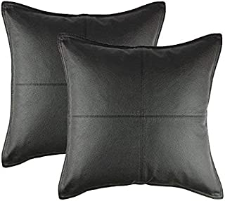 Cotton Craft - 2 Pack Real Genuine Leather Pillow Cover 17x17 - Black - Modern Contemporary Style - Hand Pieced & Patched by Skilled Artisans - Hidden Zipper - Cover Only Insert Required