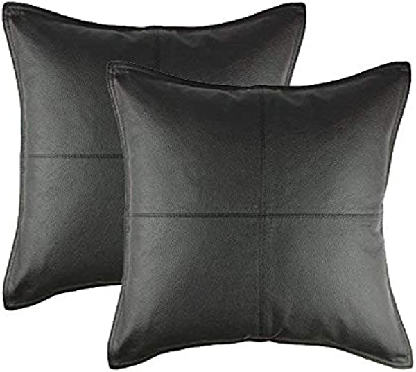 Cotton Craft 2 Pack Real Genuine Leather Pillow Cover 17x17 Black Modern Contemporary Style Hand Pieced Patched By Skilled Artisans Hidden Zipper Cover Only Insert Required