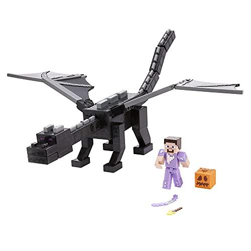 Minecraft Ultime Ender Dragon 50 cm avec figurine Steve 8 cm et accessoires de combat, jouet inspiré par le jeu vidéo, pour enfant dès 6 ans, GYR76