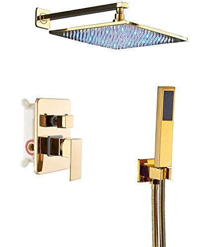 Rozin Gold Bathroom 2-Function Diverter Valve Shower Faucet System LED Light 12-inch Rain Showerhead + Handheld Spray