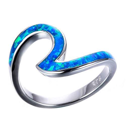 Purmy Ring Welle Damen Opal Ringe weißgold überzogen zum Dame Freundin Liebhaber,Blauer Opal größe 57 (18.1)