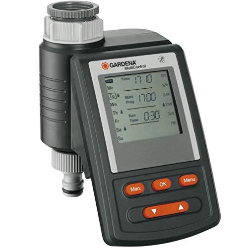 Programador de riego MultiControl GARDENA: control automático del riego con cinco opciones de programación, funciona con batería, compatible con todos los sistemas de riego de GARDENA (1862-20)
